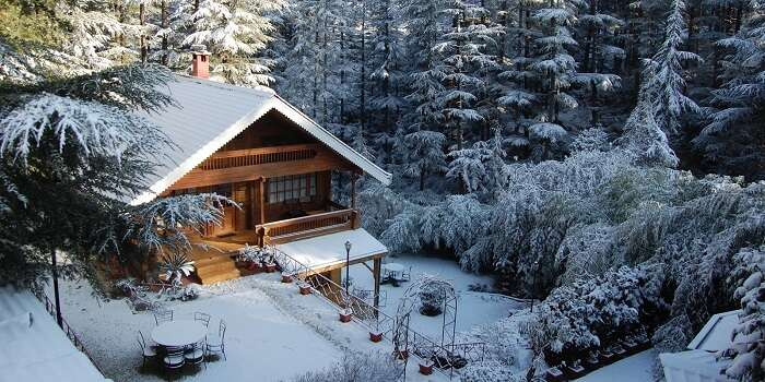 A picture of one of the stay options at the snow-clad city of Naldehra