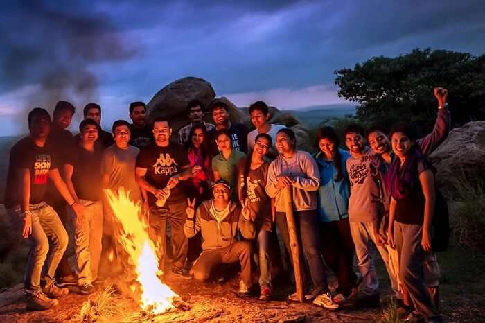 Trekkers ready to leave the camp for a night trek in Anthargange