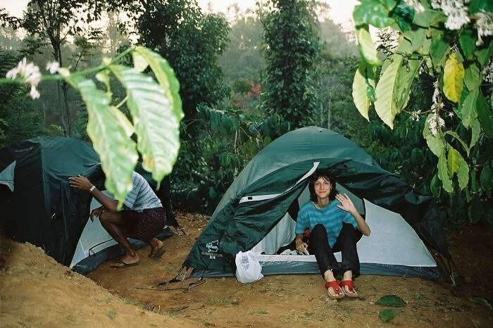 Travelers ready to leave the tents for a Wayanad farm tour